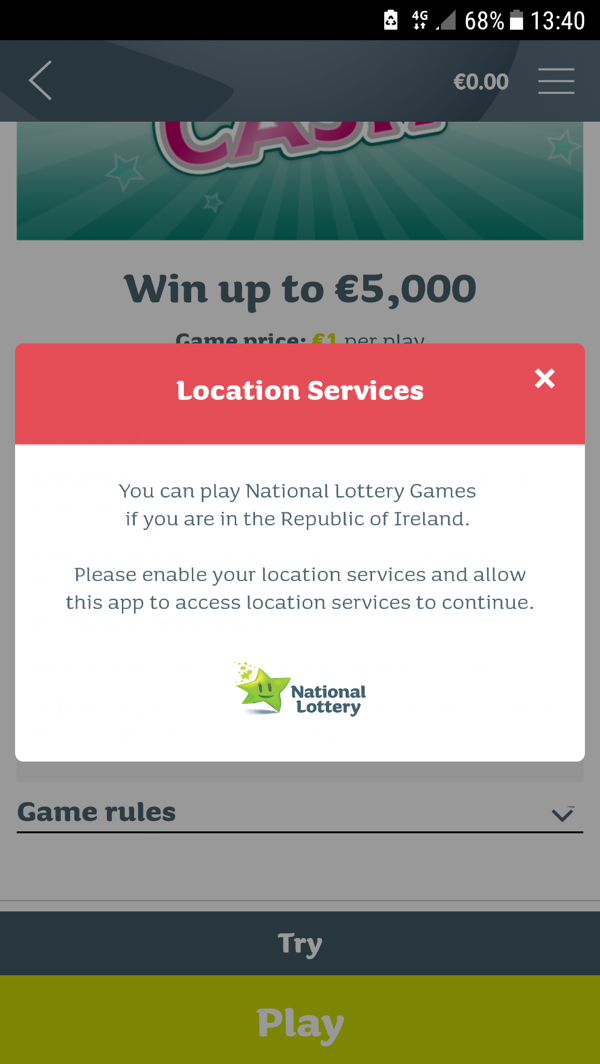 Location Services error message