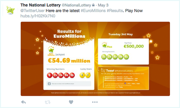 Tweet National Lottery Results Message