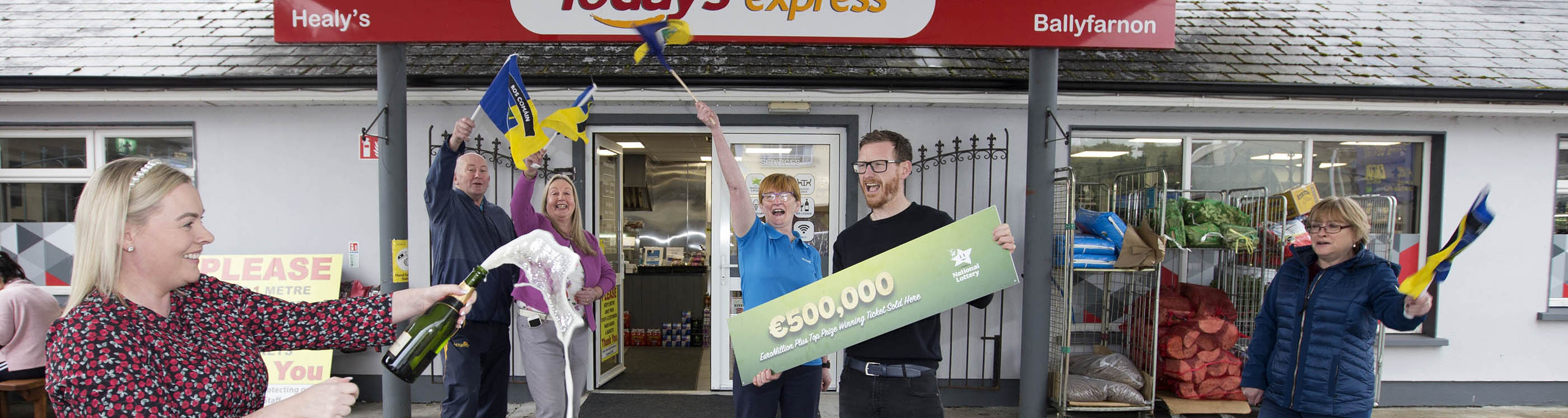 Owners of Healy's Express, Ballyfarnon, County Roscommon celebrate having sold EuroMillions Plus €500,000 winning ticket